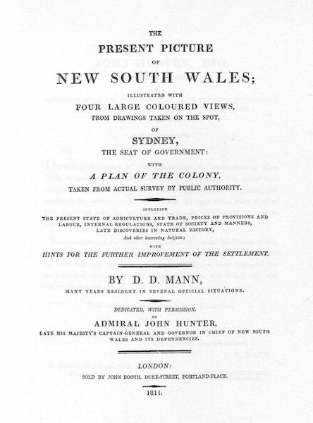 The Present Picture of New South Wales - Title Page (1811)