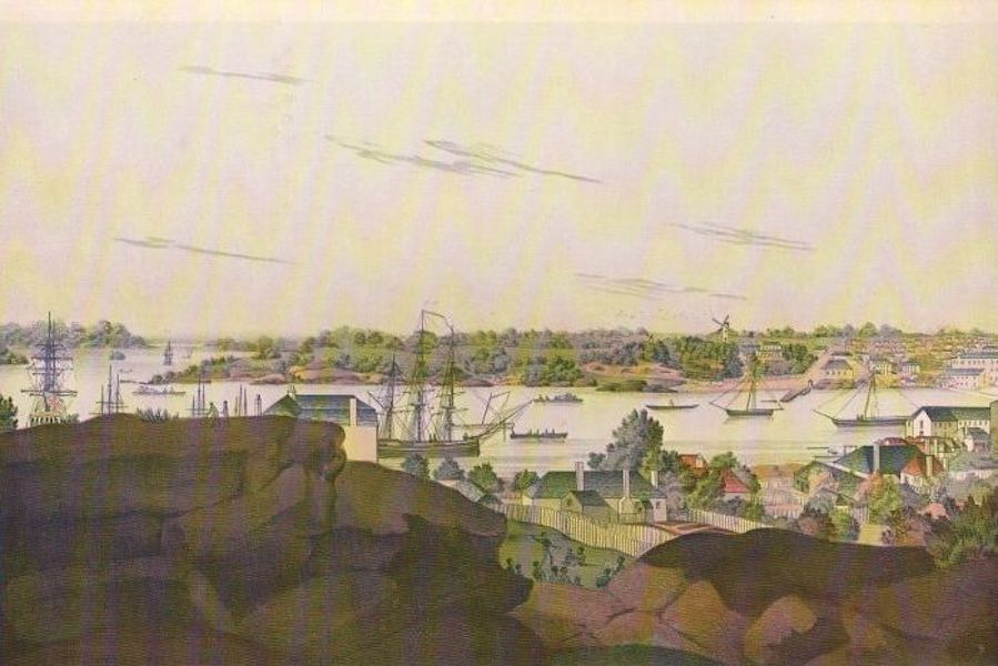 The Present Picture of New South Wales - New South Wales, 1810. View of Sydney from the West Side of the Cove [I] (1811)