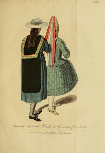 The Present State of Peru - Indians, Male and Female, in Costumes of Festivity (1805)