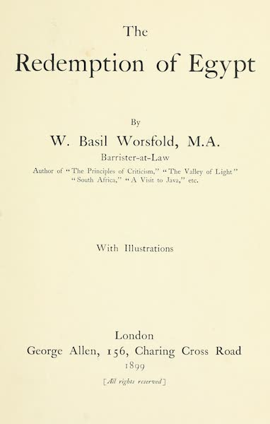 The Redemption of Egypt - Title Page (1899)
