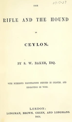 Hunting - The Rifle and the Hound in Ceylon