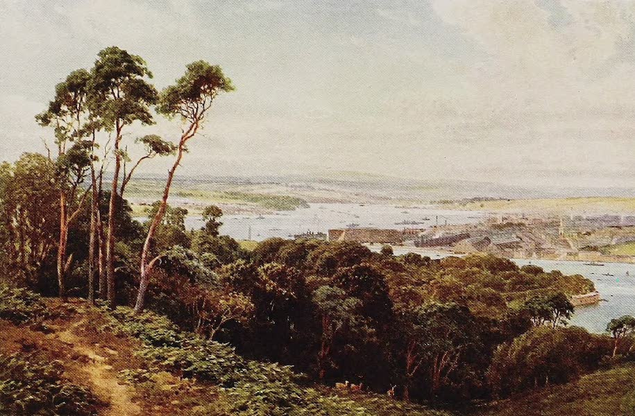 The Rivers and Streams of England Painted and Described - The Hamoaze, Devonport, from Mount Edgcumbe (1909)