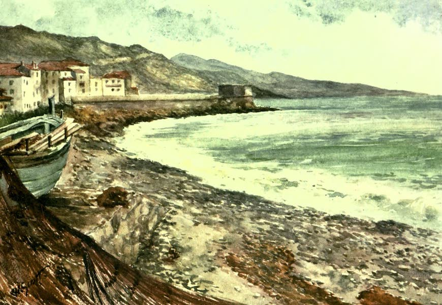 The Riviera Painted & Described - France and Italy. On the Shore, Mentone, looking towards Bordighera (1907)