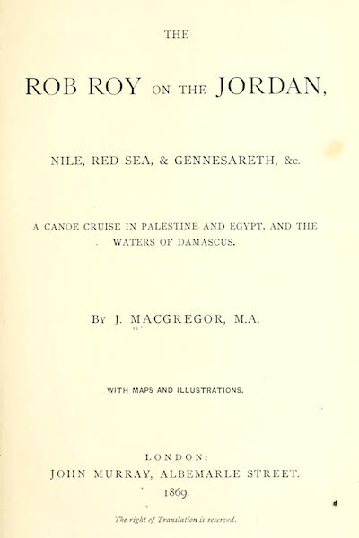 The Rob Roy on the Jordan - Title Page (1869)