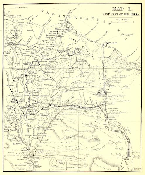 The Rob Roy on the Jordan - Map 1 - East Part of the Delta (1869)