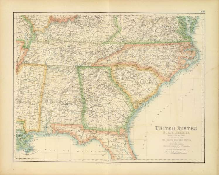 The Royal Illustrated Atlas - United States - South Eastern States (1872)