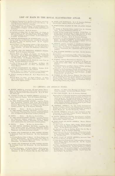 The Royal Illustrated Atlas - Contents [IV] (1872)