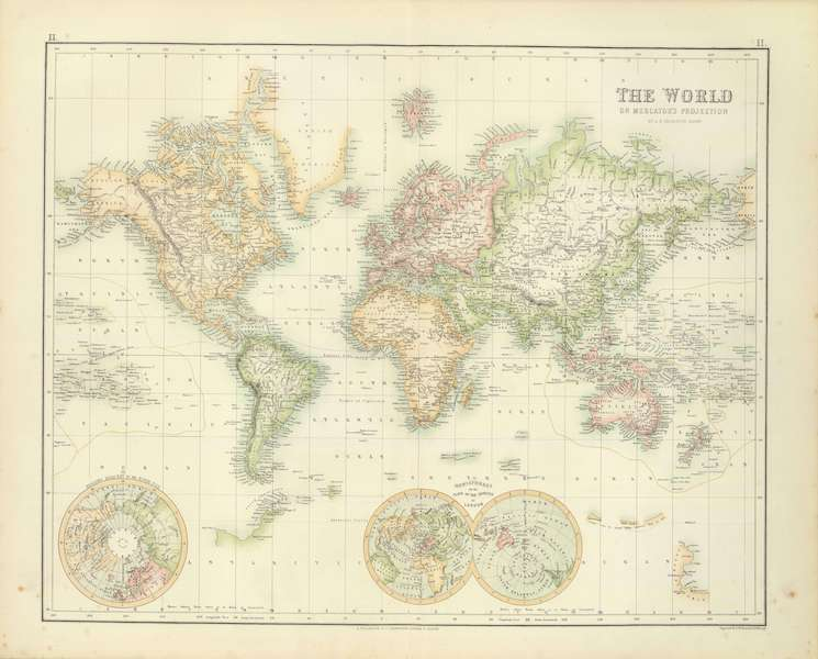The Royal Illustrated Atlas - World on Mercator's Projection (1872)