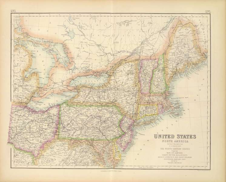 The Royal Illustrated Atlas - United States - North Eastern States (1872)