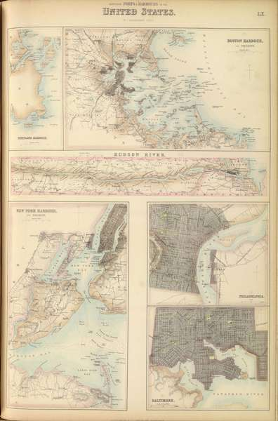 The Royal Illustrated Atlas - Northern Ports and Harbours in the United States  (1872)