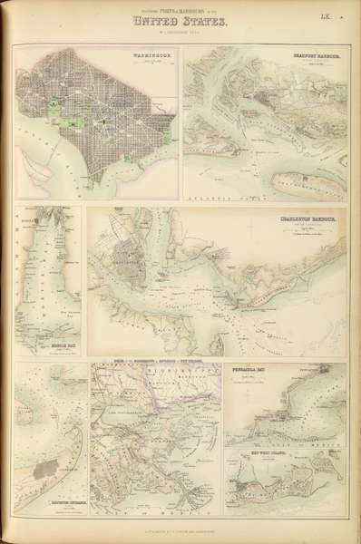 The Royal Illustrated Atlas - Southern Ports and Harbours in the United States (1872)