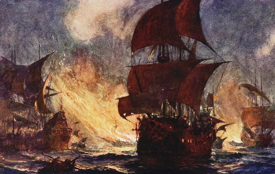 The Royal Navy, Painted and Described - The Dispersal of the Armada in Calais Roads by Fire (1907)