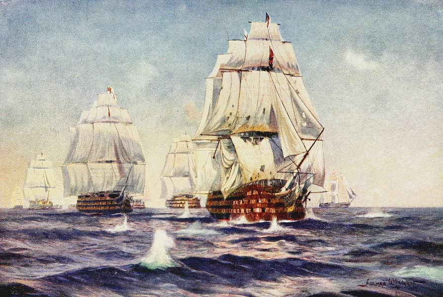 The Royal Navy, Painted and Described - Lord Nelson's Flagship leading the Weather line into Action at Trafalgar. October 21st, 1805 (1907)