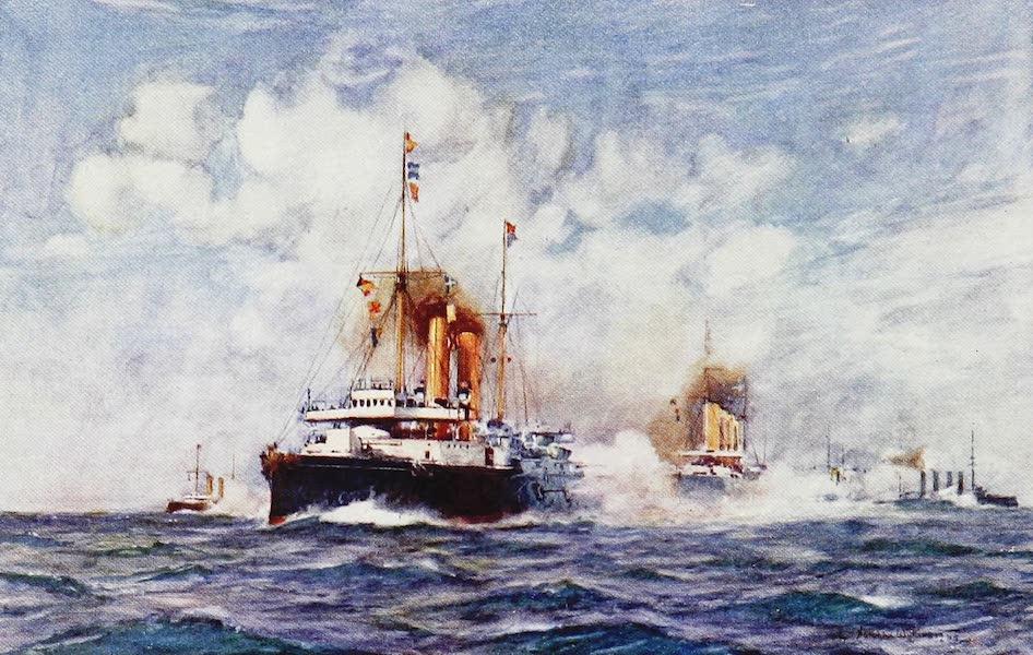 The Royal Navy, Painted and Described - A Cruiser Action off the Scillies. Manoeuvres. 1901 (1907)