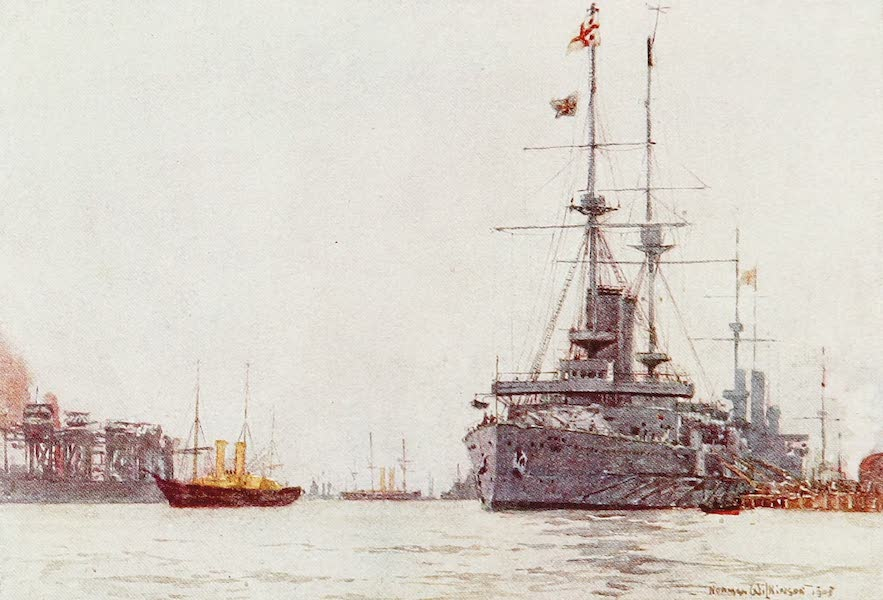 The Royal Navy, Painted and Described - H.M.S. Albemarle alongside the Railway Jetty, Portsmouth (1907)