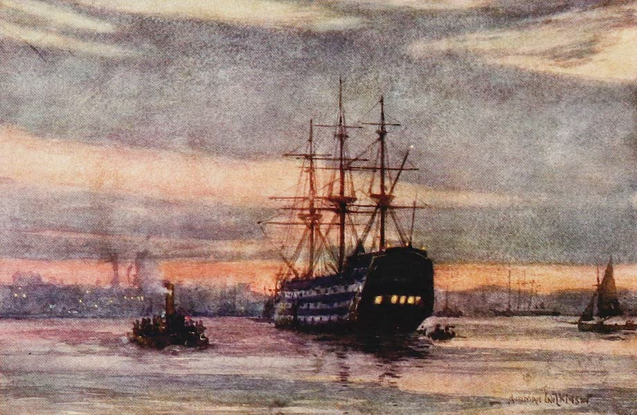 The Royal Navy, Painted and Described - H.M.S. Victory. Evening (1907)