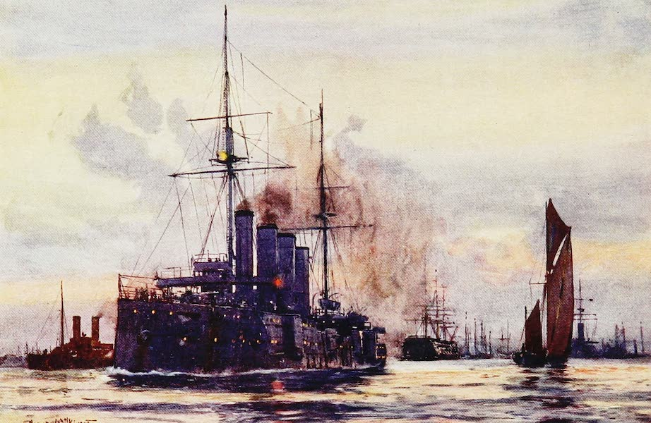 The Royal Navy, Painted and Described - H.M. Cruiser Good Hope leaving Portsmouth Harbour (1907)