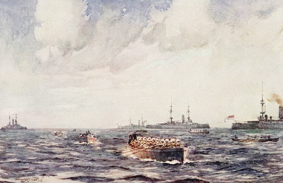 The Royal Navy, Painted and Described - Ships' Boats pulling round the Fleet (1907)