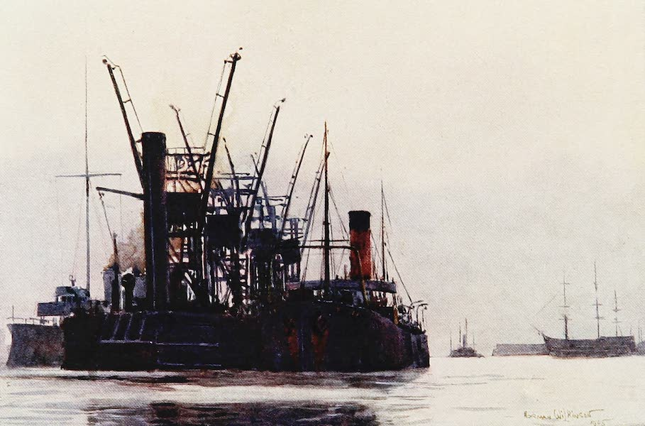 The Royal Navy, Painted and Described - The Temperley Coal Transporter. Portsmouth Harbour (1907)