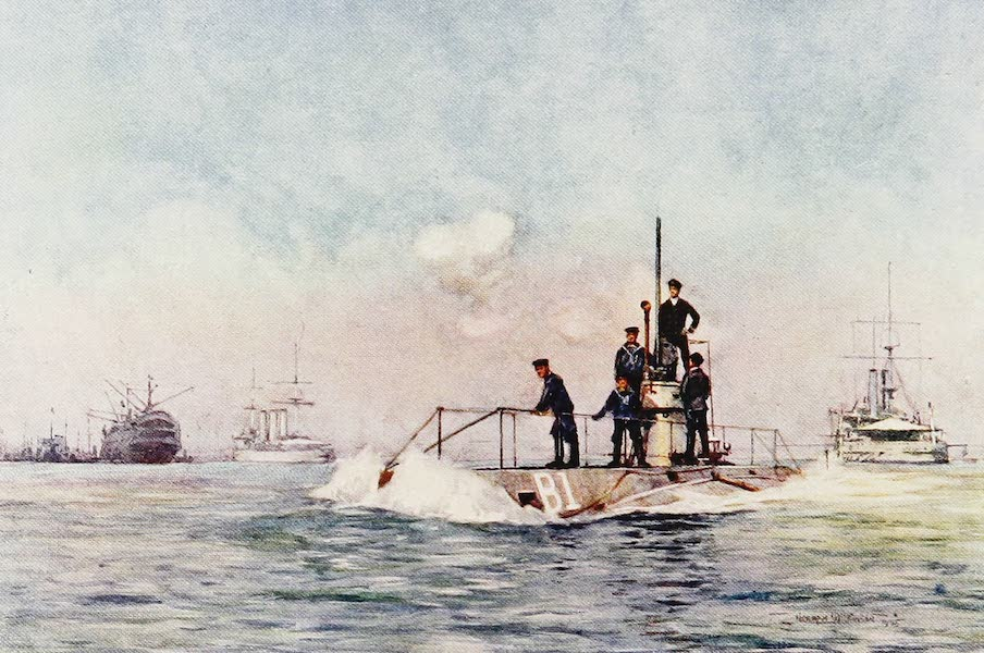 The Royal Navy, Painted and Described - A Submarine running Awash (1907)