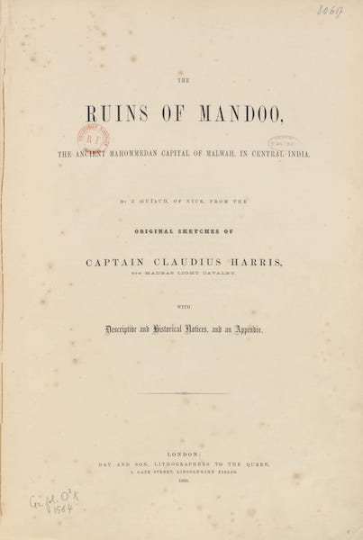 The Ruins of Mandoo - Title Page (1860)