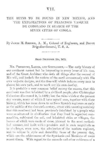 The Ruins to be Found in New Mexico - Title Page (1874)
