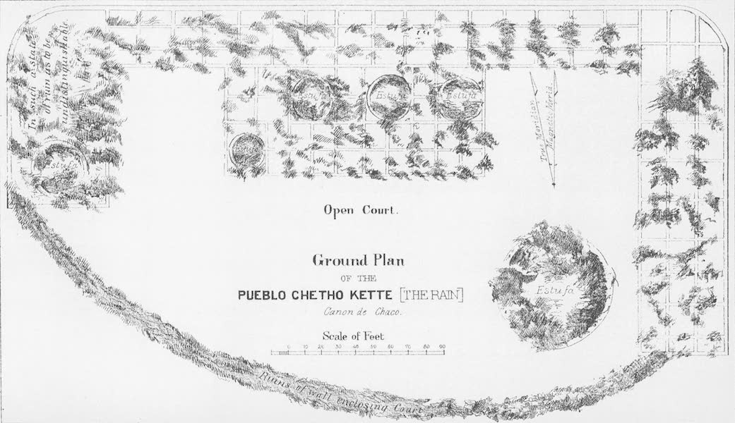 The Ruins to be Found in New Mexico - Ground Plan of the Chetho Kette [The Rain], Canon de Chaco (1874)
