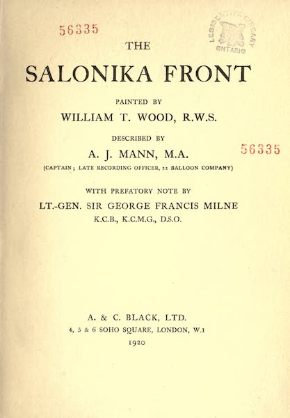 The Salonika Front - Title Page (1920)