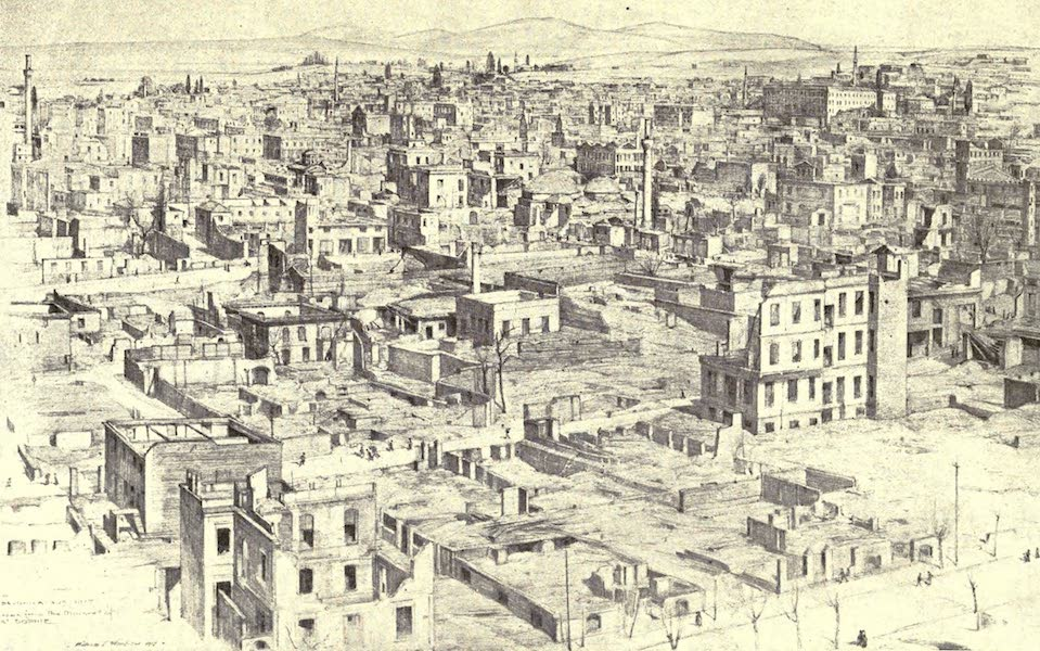 The Salonika Front - From a Minaret of St. Sophia Part of the Burnt-out Area  (1920)