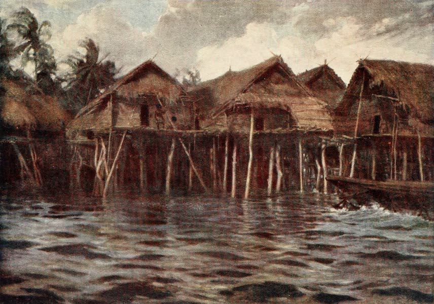 The Savage South Seas, Painted and Described - Motu Village from the Sea (1907)