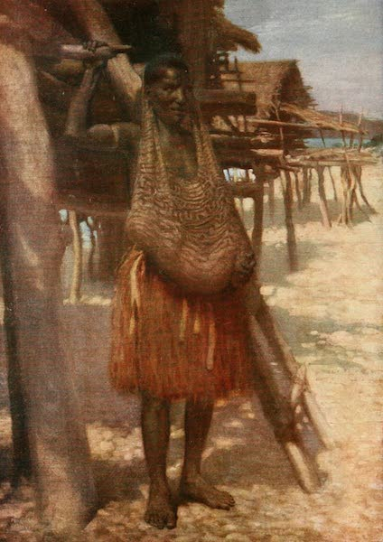 The Savage South Seas, Painted and Described - Woman with Baby in bag. Fairfax Island, British New Guinea (1907)