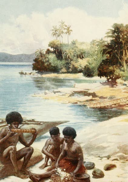 The Savage South Seas, Painted and Described - Dinner Time at Kwato, British New Guinea (1907)