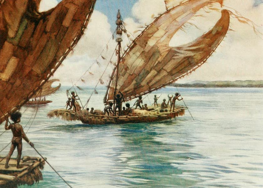 The Savage South Seas, Painted and Described - Large Trading Canoes, British New Guinea (1907)