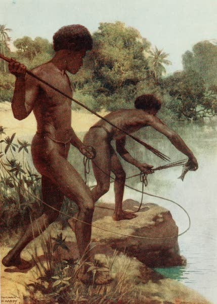 The Savage South Seas, Painted and Described - Spearing Fish, British New Guinea (1907)