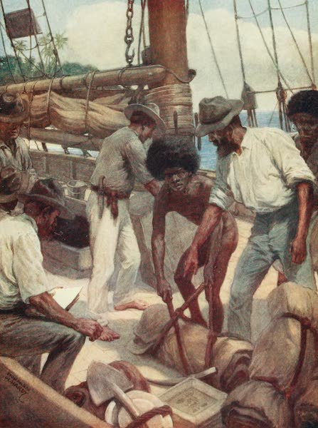 The Savage South Seas, Painted and Described - Gold Miners leaving a trading ship, British New Guinea (1907)