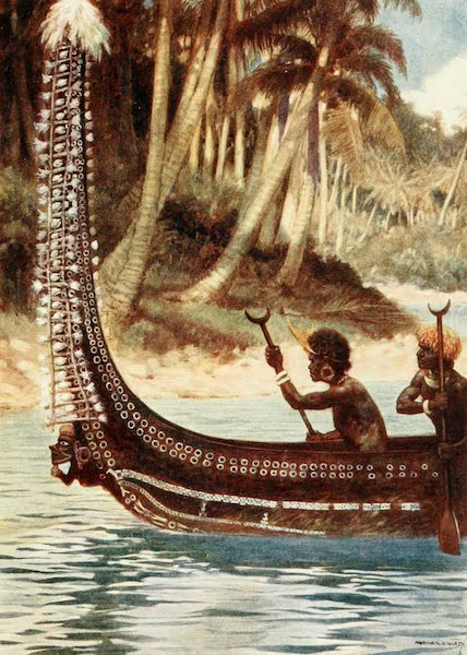 """The Savage South Seas, Painted and Described - A Canoe showing the """"Totoishu,"""" New Georgia, Solomon Islands (1907)"""