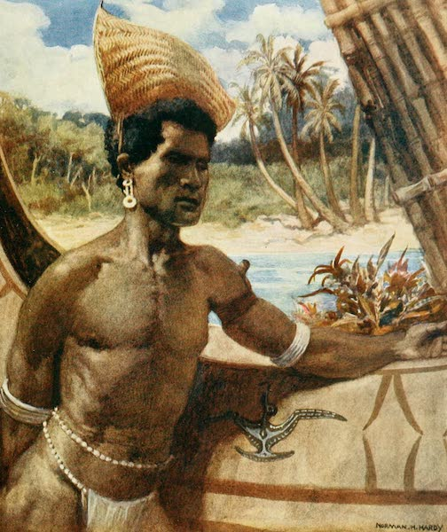 The Savage South Seas, Painted and Described - Native of New Georgia wearing Sunshade ; a sort of crownless hat made of grasses it can be worn at any angle (1907)