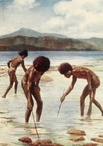 The Savage South Seas, Painted and Described - Searching for small Octopi on the Reef at low tide, Samari, British New Guinea (1907)