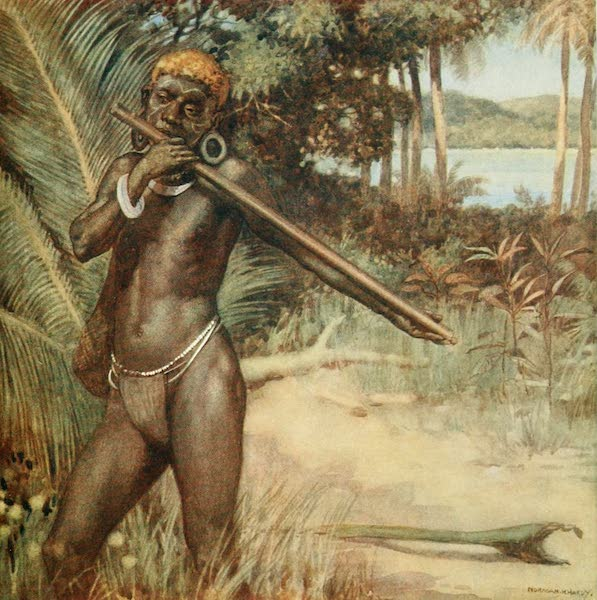 """The Savage South Seas, Painted and Described - Solomon Islander playing the """"Ivivu"""" or Flute (1907)"""