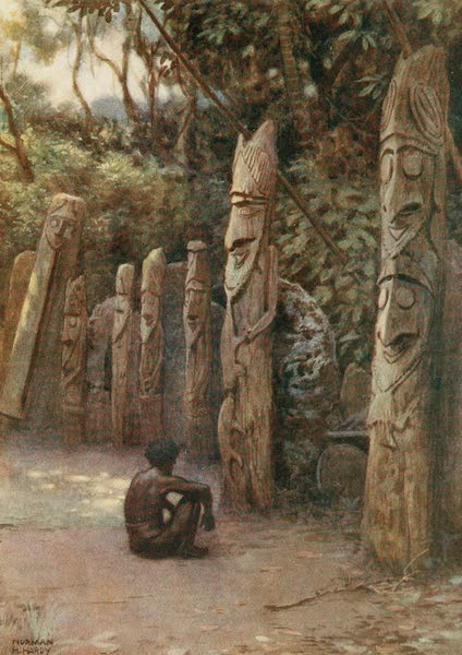 """The Savage South Seas, Painted and Described - The Stone """"Demits,"""" or the Souls, with their attendant wooden figures, Malekula Island, New Hebrides (1907)"""
