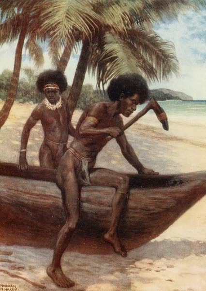 The Savage South Seas, Painted and Described - Finishing off a Canoe, British New Guinea (1907)