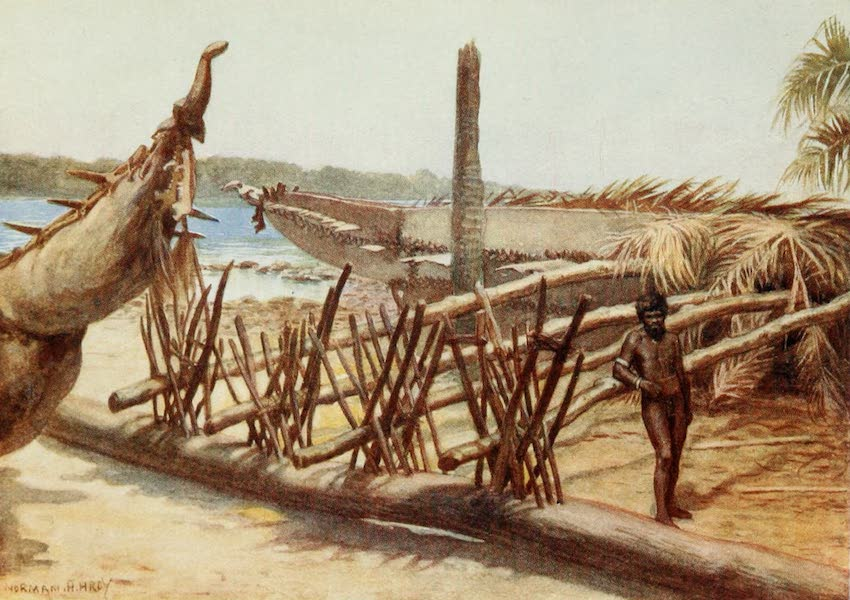 The Savage South Seas, Painted and Described - Old War Canoes, near Malekula, New Hebrides (1907)