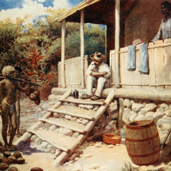 The Savage South Seas, Painted and Described - A Trader receiving Cocoa-nuts, Aoba, New Hebrides (1907)