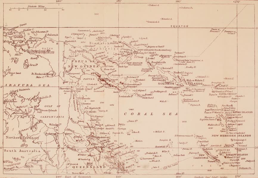 The Savage South Seas, Painted and Described - Sketch Map of the South Sea Islands (1907)