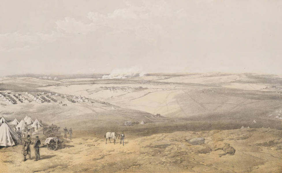 The Seat of War in the East Vol. 1 - Distant View of Lord Raglan's Head Quarters Before Sebastopol. (1855)