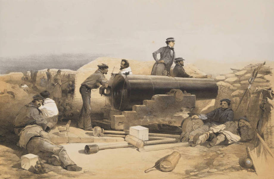 The Seat of War in the East Vol. 1 - A Quiet Day in the Diamond Battery. Portrait of a Lancaster 68 Pounder. 15th Decr. 1854. (1855)