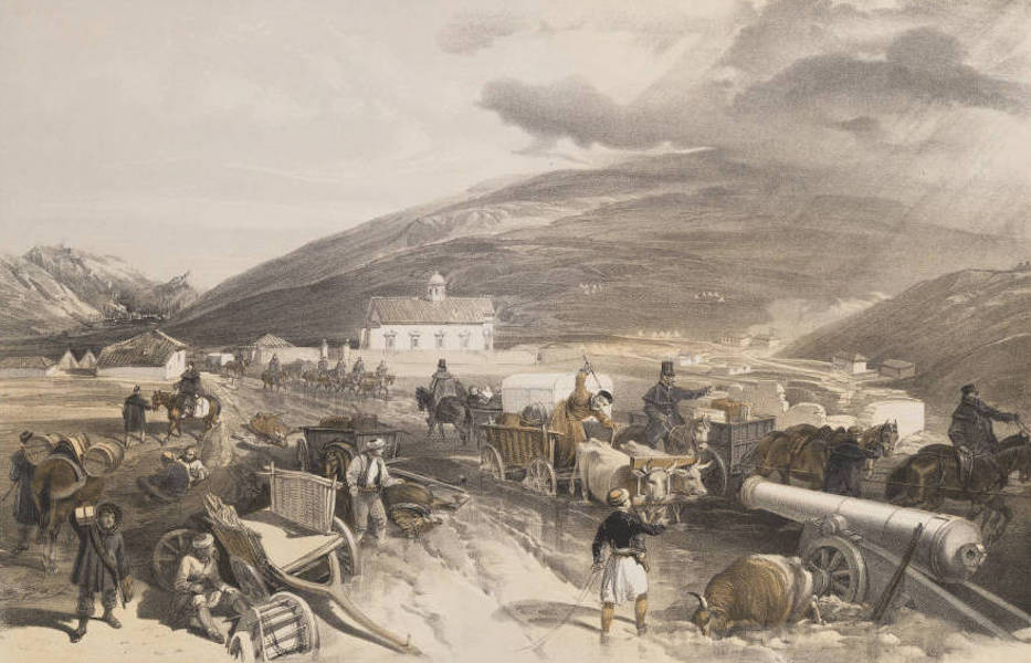 The Seat of War in the East Vol. 1 - Commissariat Difficulties. The Road from Balaklava to Sevastopol, at Kadikoi, During the Wet Weather. (1855)