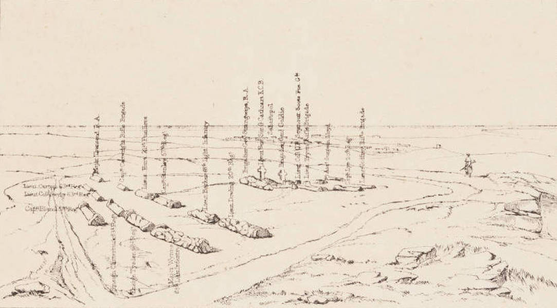 """The Seat of War in the East Vol. 1 - Key to """"The Graves in the Fort on Cathcart's Hill of the Officers 4th Division Who Fell at Inkerman"""" (1855)"""