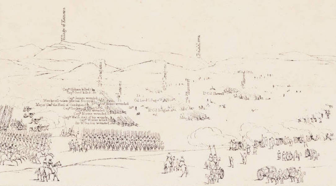 """The Seat of War in the East Vol. 1 - Key to """"The Charge of the Light Cavalry Brigade"""" 25th Oct. 1854. (1855)"""