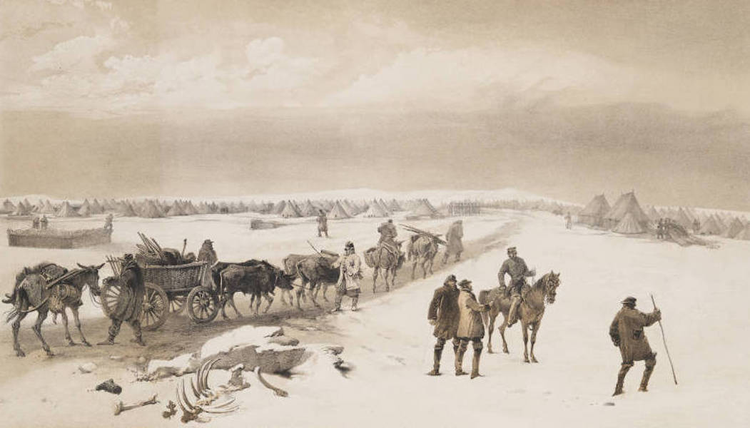 The Seat of War in the East Vol. 1 - The Camp of the 1st Division Looking North Towards the Camp of the 2nd Division, the Heights of Inkermann in the Distance. (1855)